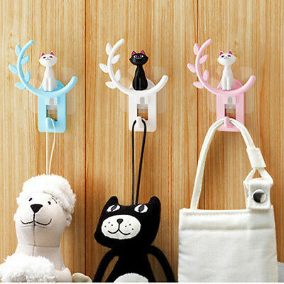 Cat Shape Self Adhesive Bathroom Wall Door Holder Hook Hanger Hooks B
