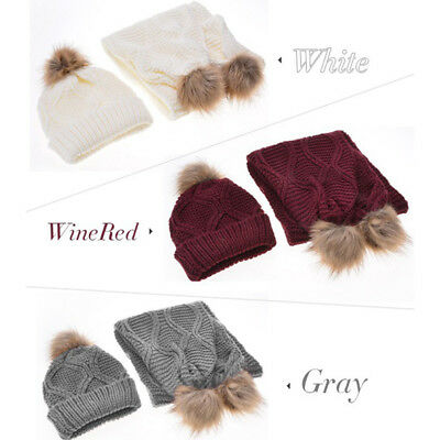 1 Set Winter Hat and Scarf Set Warm Knit Beanie Cap and Circle Scarf with Ball B