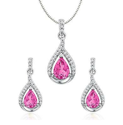 30f594f5a 10K White Gold LC Pink Sapphire Pendant & Earring Set Dangles Diamond  Accents