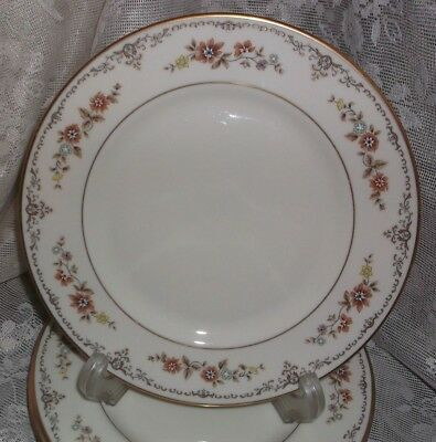 4 pc LONG MEADOW Ivory Salad Plate Gorham Fine China Made in USA Brown Floral *