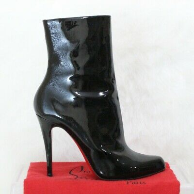 size 40 226da 7606f CHRISTIAN LOUBOUTIN DECOLLETE Black Patent Leather Ankle Boots EU 38 US 7.5