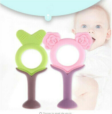 Rose Shape Baby Training Teether Chewing Molar Stick Silicone Teething Sticks B
