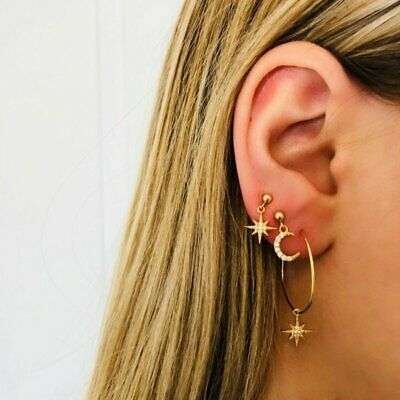 9PCS/Set Fashion Ear Clip Bohemia Ear Cuff Stud Crystal Earrings Women Jewelry