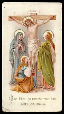 CALVARY - CHRIST CRUCIFIED, O.L.SORROWS, ST MAGDALENE, ST JOHN Antiq HOLY CARD