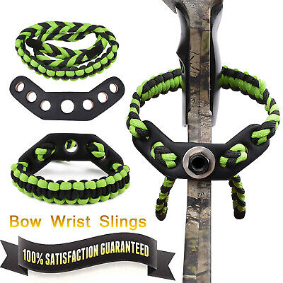 Archery braided compound Paracord Bow Wrist Sling Strap Green with Black Leather