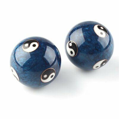 Chinese Health Exercise Stress Baoding Balls Blue Color Yin Yang Design US