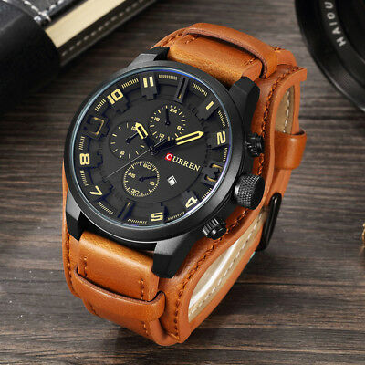 Curren Watch Army Quartz Wristwatches Leather Man's Casual Sports Watches