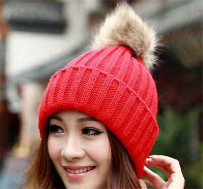 Mom Cap Hat Newborn Girl Fur Pom Ball Beanie Wool Winter Warm Casual Outdoor B