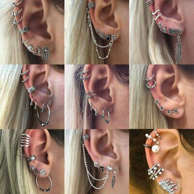 Boho Vintage Geometric Round Crystal Ear Earrings Dangle Drop Studs Hoop Women