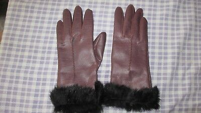 Vintage Dents Brown faux leather Gloves with faux fur trim ,warm red lining