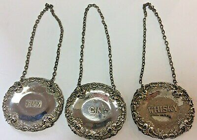 3 Nice Vintage / Antique Silver Plated Decanter Labels -- Gin-- Rum-- Whisky