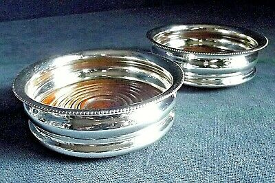 "Superb PAIR 4"" ~ GEORGIAN Style ~ SILVER Plated ~ Bottle COASTERS ~ c1880"