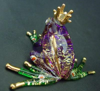 Beautiful Glass FROG Prince Purple Glass Animal Ornament Glitter Glass Figure