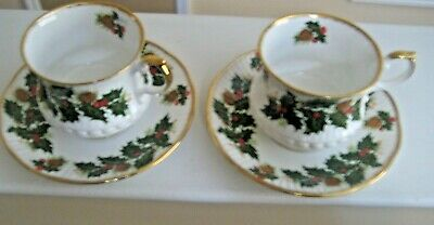 2 Sets Of Queen's Fine Bone China-Made In  England, Rosina China Yuletide Patter