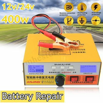 12V/24V 400AH Auto Motorcycle Car Battery Smart Charger Pulse Repair Lead