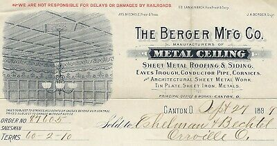 1899 Illustrated Billhead, Berger Mfg Co., Canton, Ohio, Metal Ceilings