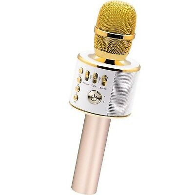 Bluetooth Karaoke Mike with Portable Speaker  ( Gold )