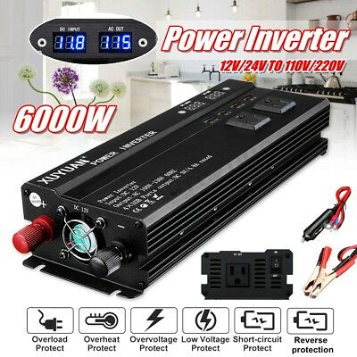 3000/4000/6000W Car Power Inverter 12/24V to 110/220V USB Sine Wave