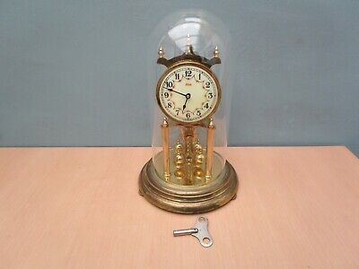 Vintage Large Kundo Brass Wind Up Anniversary Clock With Glass Dome