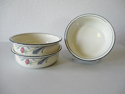 """3 Lenox Chinastone Poppies On Blue Soup/Cereal Bowls 6 1/4"""""""