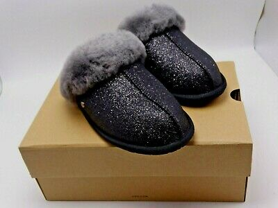f5b623403f3 WOMENS UGG BLACK SCUFFETTE II SPARKLE SYNTHETIC SLIPPERS Size 8 New In Box