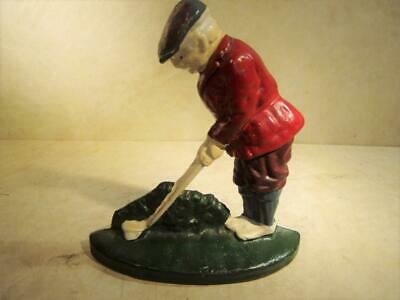 Vintage Hubley Painted Cast Iron Putting Golfer Doorstop Door Stop