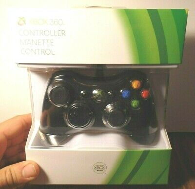 MICROSOFT XBOX 360 WIRED CONTROLLER BRAND NEW SEALED GENUINE AUTHENTIC Black