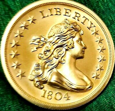 1804 Silver Dollar , 2 oz  .999 pure Silver Coin ,  24k Gold Gilded F