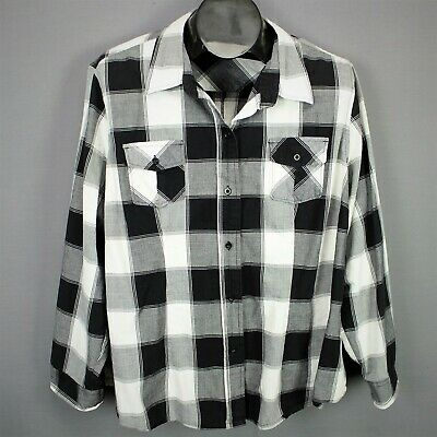 da7602e0 Cato Top Shirt Size 22/24W Black White Plaid Womens Plus Button Casual