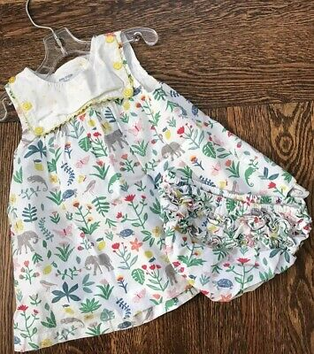 02f4856ccca6 Baby Girl Mini Boden Dress W  Ruffle Bloomers 3-6 Mo Animals Yellow Buttons