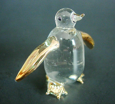 Glass King PENGUIN, Antarctica Animal Ornament,Clear & Gold Painted Glass Figure