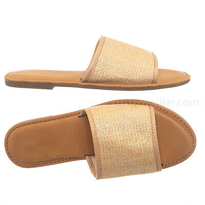 dc301df8510 Shoreline66 Raffia Straw Mat Slide Sandal - Women Woven Slip-On Flats