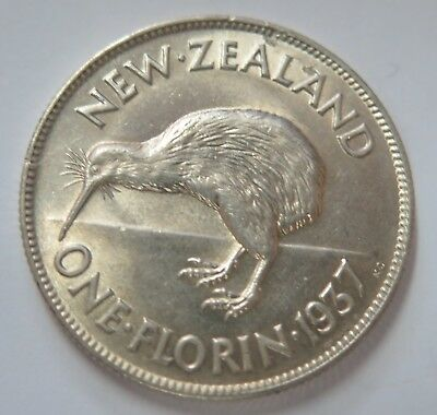 New Zealand 1937 George VI Silver Florin