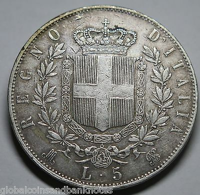 Italy - 1869 M 5 Lira (Milan Mint) , Silver Coin - Good Very Fine