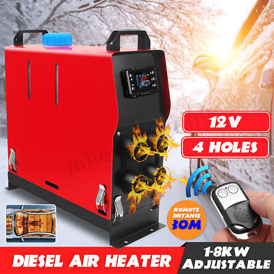 12V 8KW Air Diesel Heater 4-Hole All in one LCD Thermostat For Car Trucks Boats