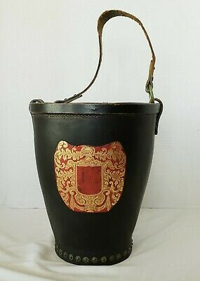 Antique Leather Fire Bucket With Br