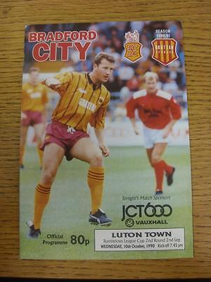 10/10/1990 Bradford City v Luton Town [Football League Cup] (Light Crease). This