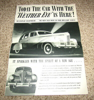 1939 Nash Original Showroom Sales Brochure Old Booklet catalog Vintage Book