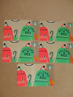 5 Starbucks 2018 Back To School Welcome Back Gift Cards 6156 Limited - New Lot