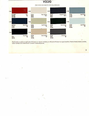 1963 1964 1965 1966 1967 1968 1969 1970 Volvo Paint Chips 68 Dupont 3