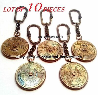 Lot Of 10 Pcs Vintage Style Collectible Brass Calendar Key Chain Antique Gift