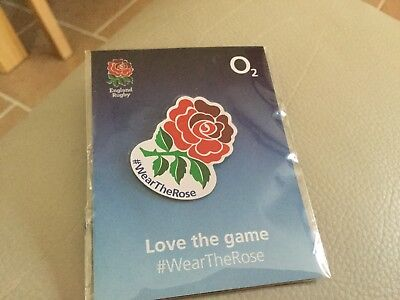 Rugby Pin Badge Love The Game Wear The Rose O2 Sponsor Badge, Brand New