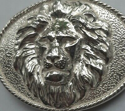 Solid Sterling Silver Lion Head Belt Buckle