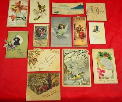 Antique Christmas Card Lot Including a Very Rare Card from Ireland