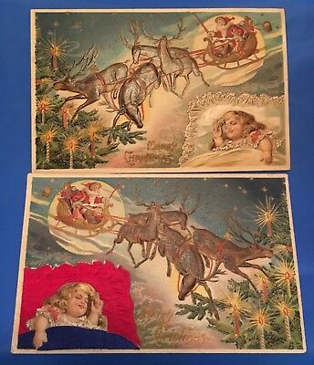 Rare Matching Pair Of Antique Victorian Christmas Cards Great Santa Claus Art!!