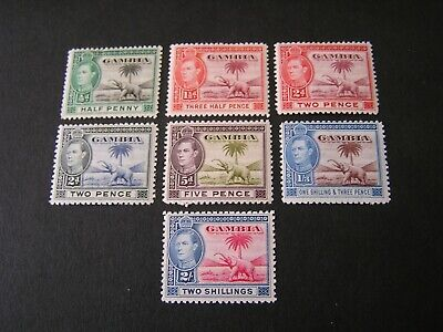 Gambia, Scott # 132+134/135(2)+135A+136A+138A+139. Total 7, 1938-46 Issue Mvlh