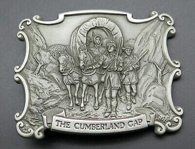 The Cumberland Gap Pioneers Horses Covered Wagon Kentucky Tennessee Belt Buckle