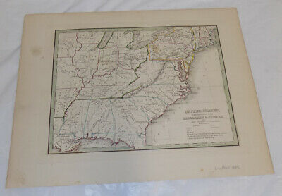 1835 Antique COLOR Map/RAILROADS & CANALS OF THE UNITED STATES