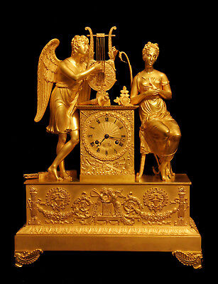 Lesieur A Paris Antique French Gold Plated Bronze Empire Mantel Clock, 1800-1849