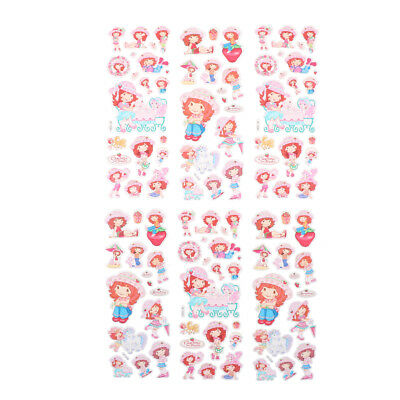 6 Sheets Cute Strawberry Girls Scrapbooking Bubble Stickers Reward Kids Toys Lp